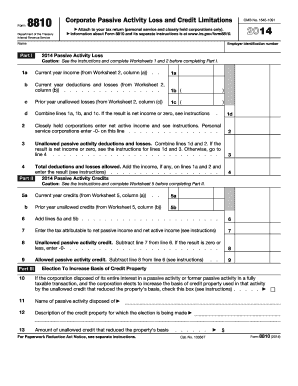 Fillable Online irs 2014 Form 8810. Corporate Passive Activity ...