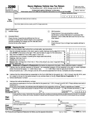 Form 2290 (Rev. July 2015). Heavy Highway Vehicle Use Tax Return