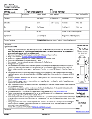 New Vehicle Assignment Update Information NO DAMAGE Send .  Editable Rental Agreement