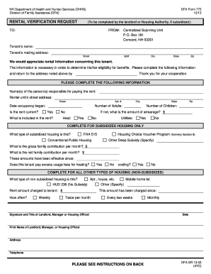 Nh Rental Verification Form