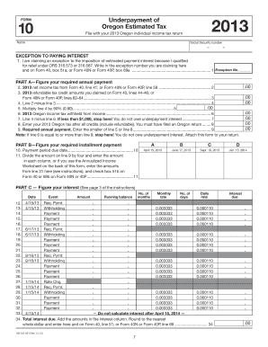 Fillable Online oregon 2013 OREGON Form 10 and Instructions for ...
