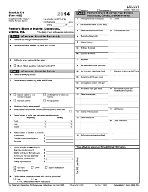 Fillable Online 2014 Form 1065 (Schedule K-1) Fax Email ...