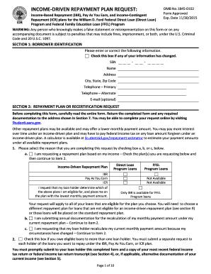 Fillable Online ifap ed Income-Driven Repayment Plan Request form ...