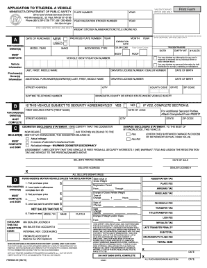 Fillable Online Dps Mn Title And Register Motor Vehicle