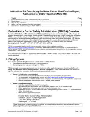 Fillable Online fmcsa dot business operation (Motor Carrier