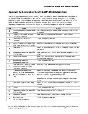 Ada 2012 Dental Claim Form Fillable Edit Fill Print Download