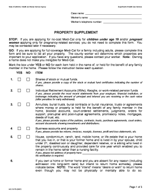 California Health Human Services Property Supplement Form