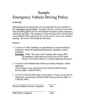 Sample Emergency Vehicle Driving Policy Fill Online, Printable