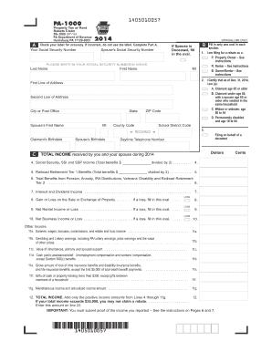 Fillable Online Property Tax or Rent Rebate Claim (PA-1000). Forms ...