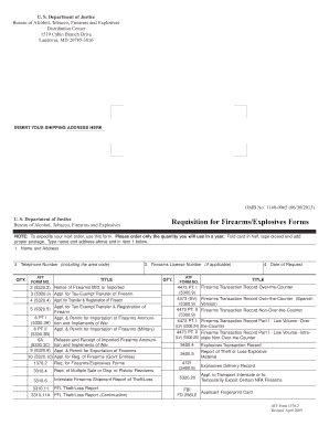 ATF F 1370.2 Requisition for Firearms / Explosives Forms - atf
