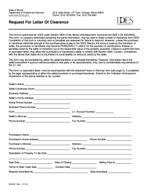 Fillable Online ides illinois Request Letter of Clearance ...