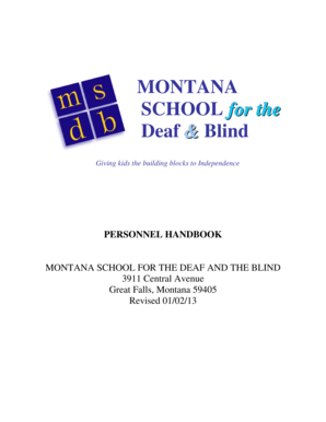 PERSONNEL HANDBOOK - Montana School for the Deaf & Blind