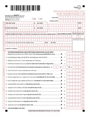 Fillable Online GA Form 500 EZ Short Individual Income Tax Return ...