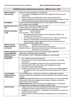 ACGME Duty Hour Requirements Summary  Effective July 1, 2011