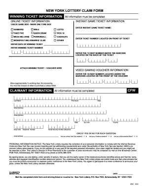 Fillable Online nylottery ny NEW YORK LOTTERY CLAIM FORM