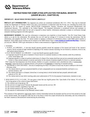 Fillable va burial benefits phone number - Edit, Print