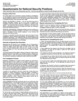 Standard Form 86, Questionnaire for National Security Positions