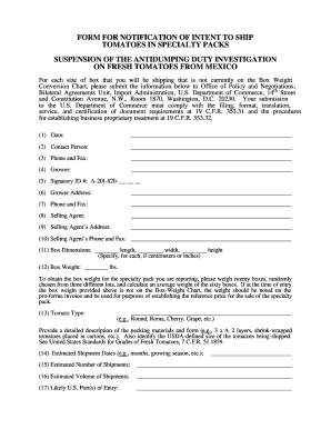 F09 Form for Notification of Intent to Ship Tomatoes in Sp