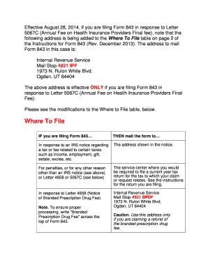 Irs Response Letter.Fillable Online Irs Response To Letter 5067c Annual Fee On