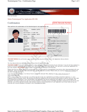 Fillable Online photos state Sample US Visa DS-160 Form ...