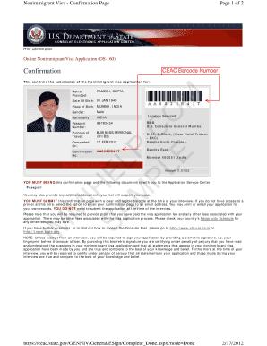 Fillable Online photos state Sample US Visa DS-160 Form Confirmation on i-94 form.pdf, i-20 form.pdf, passport ds-11 form.pdf,