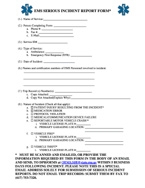 Serious incident report form fill print download for Serious incident report template