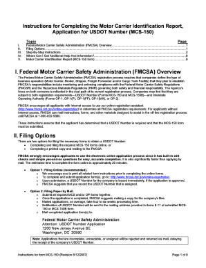 fillable online fmcsa dot application for usdot number