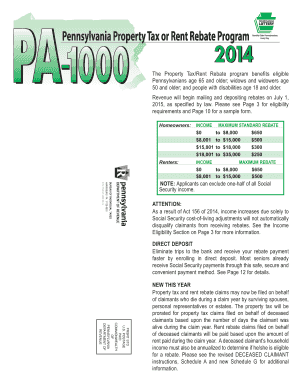 2014 PA Property Tax or Rent Rebate Program Instruction Booklet. Forms/Publications