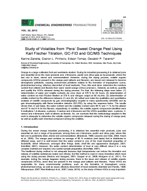 Study of Volatiles from 'Pera' Sweet Orange Peel Using Karl ... - Aidic - aidic