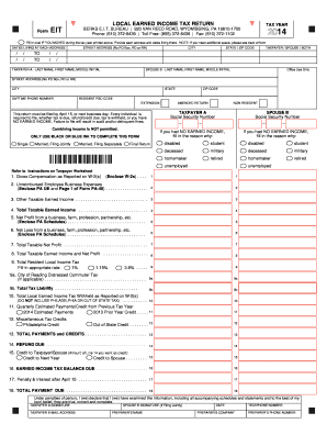 Fillable Online Form LOCAL EARNED INCOME TAX RETURN EIT TAX YEAR ...