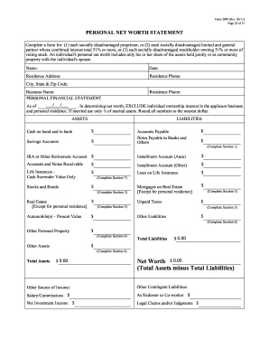 Fillable Personal net worth statement form - Edit Online, Print ...