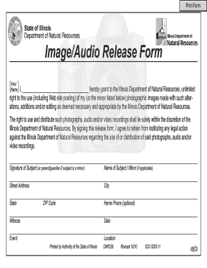 Fillable Online dnr illinois Photo Release Form - Illinois DNR ...
