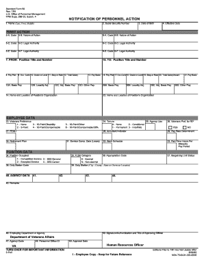 standard form 50 (sf-50)  Fillable Online va SF9, NOTIFICATION OF PERSONNEL ACTION ...