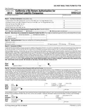 2013 Form 8453-LLC -- California e-file Return Authorization for Limited Liability Companies