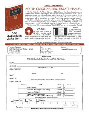 fillable online ncrec real estate manual order form north carolina rh pdffiller com north carolina real estate manual free north carolina real estate manual free