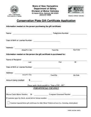 Conservation plate gift certificate application fill for Department of motor vehicles concord new hampshire