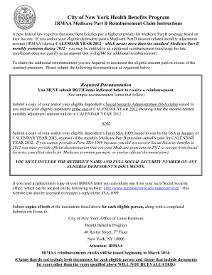 city of new york health benefits program irmaa Fillable Online nyc 2012 IRMAA Medicare Part B Reimbursement - NYC ...