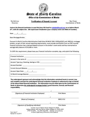 Fillable Online nccob Verification of Deposit form (MLA-17 Fax ...