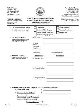 Fillable Online sos wv Form AAO - West Virginia Secretary of