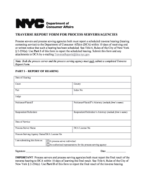 Download Traverse Report Form for Process Servers/Agencies - nyc