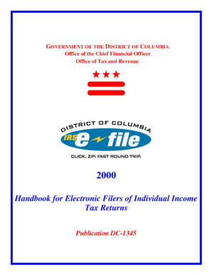 Handbook for Electronic Filers of Individual Income Tax Returns - does dc
