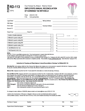 Fillable Online RD-113 - City of Kansas City, Missouri Fax Email ...