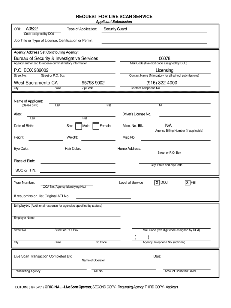 Security Guard Live Scan Form - Fill Online, Printable ...