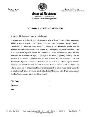 Hold Harmless Letter For Vehicle Release To Download