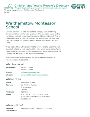 walthamstow montessori school form