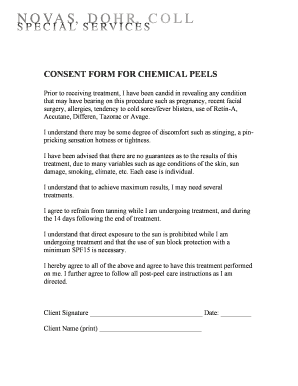 Fillable Online CONSENT FORM FOR CHEMICAL PEELS - Welcome to Fax ...