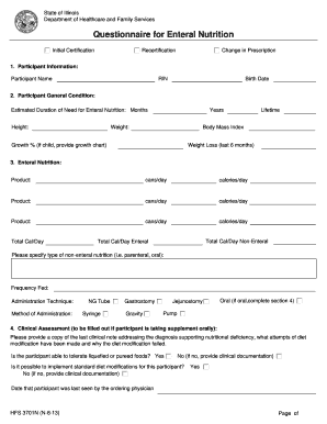 Questionnaire for Enteral Nutrition (pdf) - Illinois.gov - www2 illinois