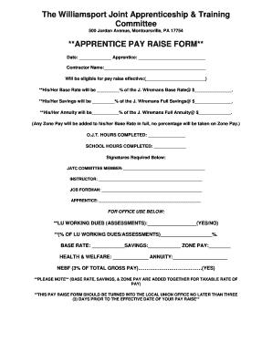 Fillable Online Apprentice Pay Raise Form - IBEW Local 812 Fax ...