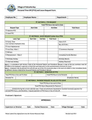 (PTO) and Leave Request Form Employee No - Palmetto Bay - palmettobay-fl