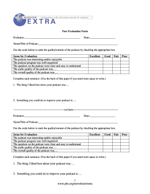 Podcast Peer Evaluation Form - Clarkson Elementary School